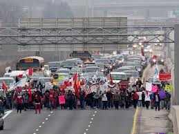 Idle No More protesters on Highway 401 in London, Ont., in December.  THE CANADIAN PRESS/Dave Chidley