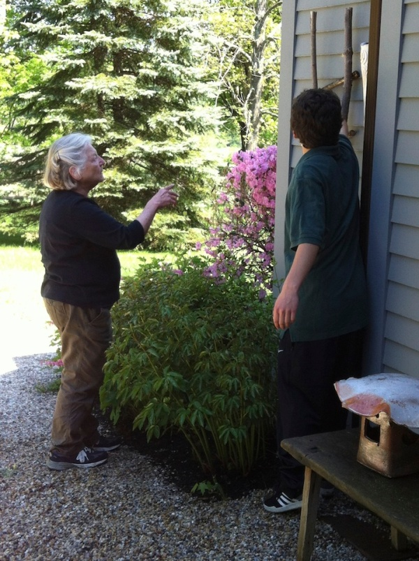 Making plans for the next project with grandson Eric.  The work of a gardener is never done....