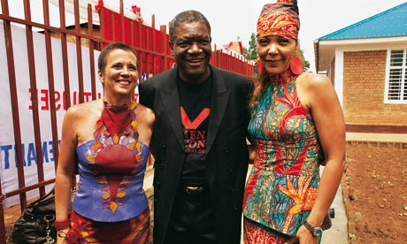 Eve Ensler, Dr. Denis Mukwege and Christine Deschryver, co-founders of the City of Joy.  Dr. Mukwege is a Congolese gynecologist who has operated on hundreds of women and girls left incontinent by tears in their vaginas due to violent rape.