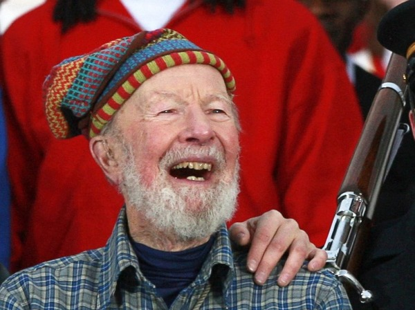 Image: File photo of Pete Seeger and his grandson Tao attending the We Are One - Inaugural Celebration at the Lincoln Memorial in Washington