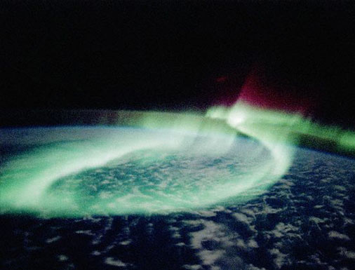 Northern lights, photographed from space
