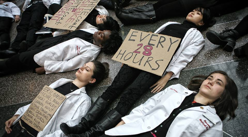 Die-in for racial justice at Harvard Medical School, December 2014