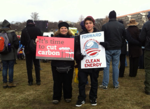 At the climate change rally in Washington DC, Feb. 2013